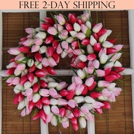 Pink And White Tulip Silk Spring Door Wreath 19 inch