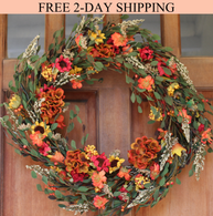 Nashua Blossom Fall Front Door Wreath 22 inches