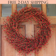 Northville Red Pip Berry Wreath, 22 Inches