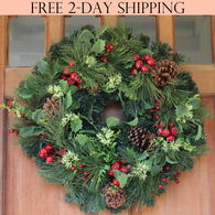 Aurora Winter Wreath, 22 Inches
