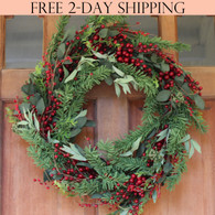 Greenwood Berry Winter Wreath, 22 Inches