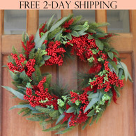 Keene Evergreen and Berry Winter Wreath, 22 Inches