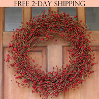 Ellsworth Red Berry Wreath, 22 Inches