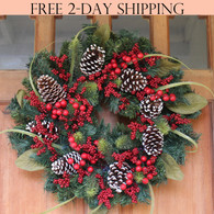 Tunbridge Winter Berry Wreath, 22 Inches