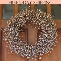 Shelburne White Pip Berry Wreath, 22 Inches