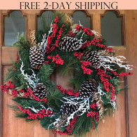 Somerset Winter Red Berry Door Wreath, 24 Inches