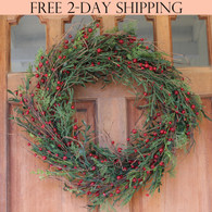 Marion Winter Berry Door Wreath, 22 Inches