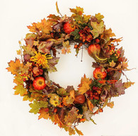 Wynnewood Silk Front Door Fall Wreath 22 in