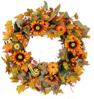 Harrington Silk Front Door Fall Wreath 22 in