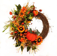 Brandywine Silk Front Door Fall Wreath 22 in