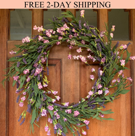 Overbrook Silk Lavender Front Door Wreath - 22 inch