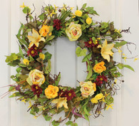 Bellevue Silk Front Door Spring Wreath 22 in