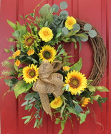 Ashland Silk Sunflower Front Door Spring Wreath 22 in