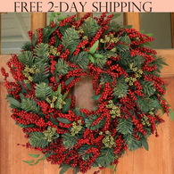 Pennsgrove Evergreen and Berry Winter Wreath, 22 Inches