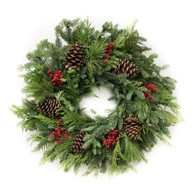 Northwest Evergreen Fresh Christmas Wreath 22 inch