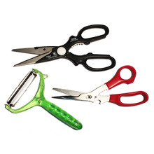 "3 Piece Set of 3 excellent tools for the kitchen.  The perfect combination for cooking, prepping and displaying! #77-1011  9""L Kitchen Scissor #77-2041  7 3/8""L Kitchen Scissor and Crab or Nut Cracker #77-2061  4""W x 6.25""L Peeler / Slicer"