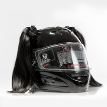 Black Motorcycle Helmet Pigtails
