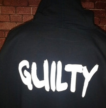 Guilty on the back of a hoodie