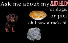 Ask me about my ADHD, or dogs, or pie, oh I saw a rock shirt