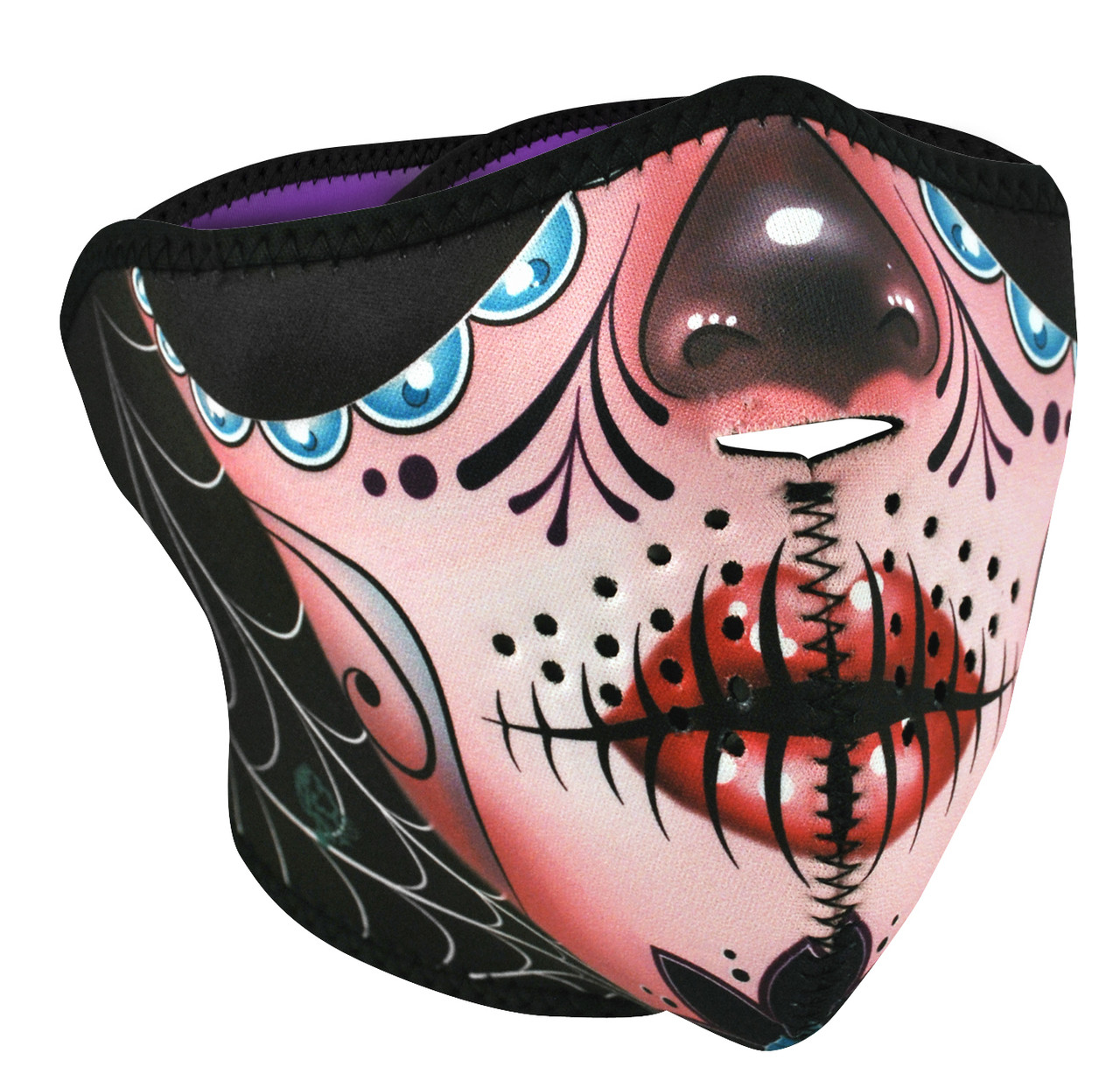 Sugar Skull Neoprene Half Face Mask Neoprene Face Masks