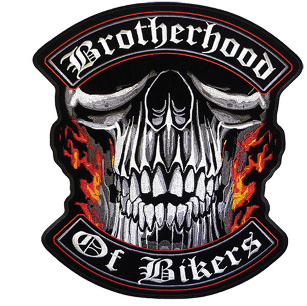 Brotherhood Of Bikers Skull Patch Biker Back Patches