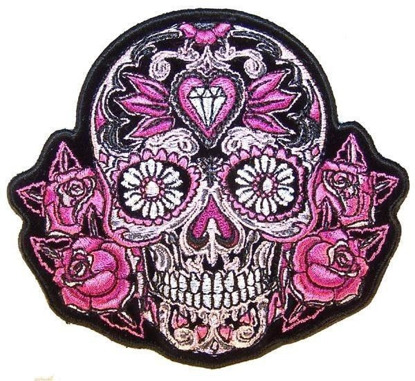 Black Sugar Skull With Pink Roses Women S Back Patches