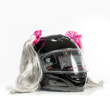 Gray Motorcycle Helmet Pigtails