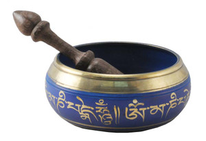 Blue 5 Inch Singing Bowl with Om Mani Padme Hum Mantra