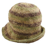 Brown and Green Hemp Striped Handmade Hat