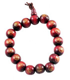 Buddha Red Wood Wrist Mala