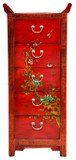 Chinese Village Scene Leather Covered Elm Wood Chest of Drawers