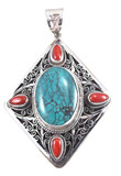 Diamond-Shaped Filagree Pendant with Turquoise and Coral Gemstones