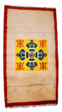 Double Dorje and Fortune Symbol Rug with a Red Border
