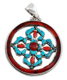 Double Dorje Vishvavajra Turquoise and Coral Pendant