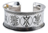 Eight Auspicious Signs White Metal Bracelet