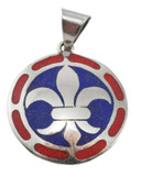 Fleur de Lis Pendant with Coral and Lapis Lazuli Inlay
