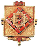 Gold Prayer Box with Coral Gemstones