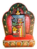 Kalachakra Mantra Symbol Wood Carving, Buddhist Art