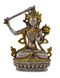 Manjushri Buddha Statue, Silver and Brass