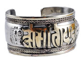 Om Mani Padme Hum Brass and White Metal Bracelet