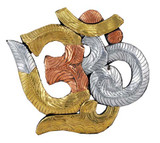Om Symbol Wood Carving with Copper, Brass, and Silver