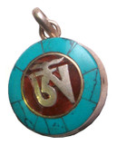 Om Symbol Sterling Silver, Turquoise, and Coral Pendant