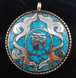 Om Symbol Turquoise and Tibetan Silver Pendant