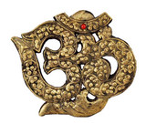 Brass Om Symbol Wood Carving