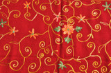 Pashmina Scarf, Red, Handmade in Nepal, Embroidered by Hand