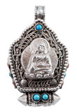 Sakyamuni Buddha Prayer Box, Handmade from Sterling Silver with Turquoise and Coral Gemstones