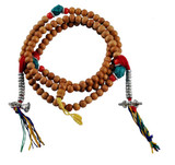 Sandalwood Mala, 8 mm with Turquoise and Coral Spacer Beads