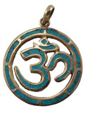 Sanskrit Om Symbol Pendant in Brass with Turquoise Inlay