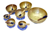 Tibetan Singing Bowls Gift Set, Seven Singing Bowls, One for each Chakra