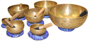Tibetan Singing Bowls Gift Set of Seven Singing Bowls with Strikers and Singing Bowl Cushions